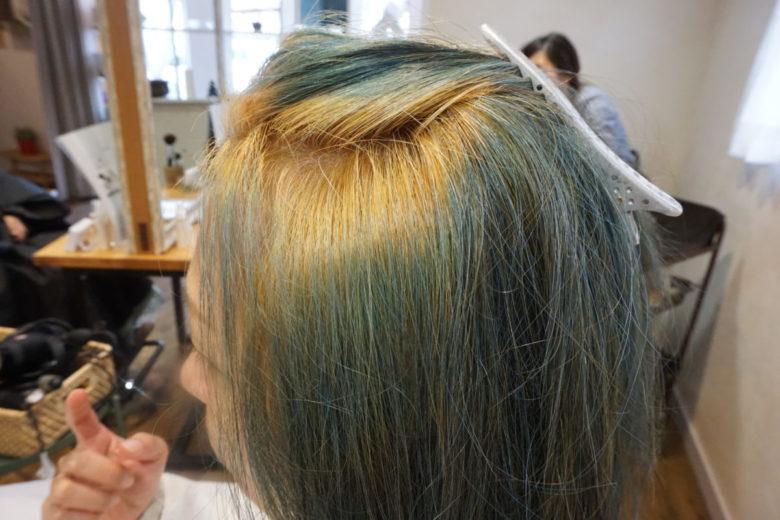 一旦ブリーチ(脱色)した髪に、太陽と大地のヘナのアッシュ系で染める前の画像
