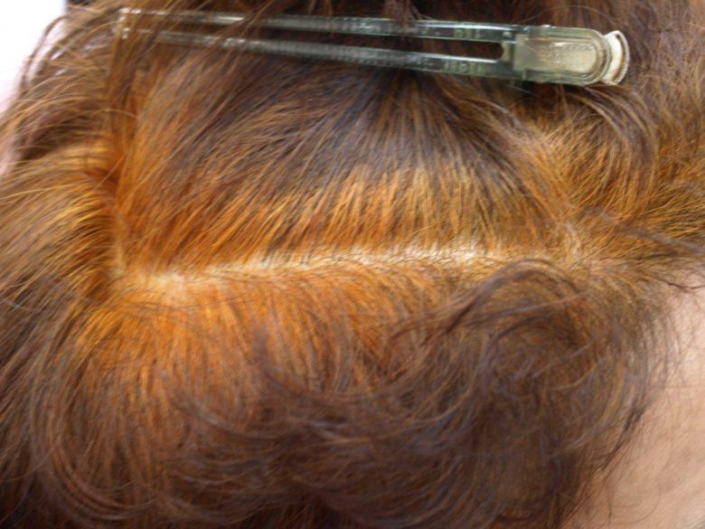 岐阜市のヘナとヘッドスパの美容室月と風のヘナ2度染めのオレンジ塗布の後の画像